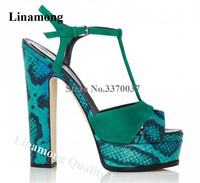 Women Fashion Open Toe Green Snake Leather High Platform Chunky Heel Sandals T strap Patchwork Thick High Heel Sandals Big Size