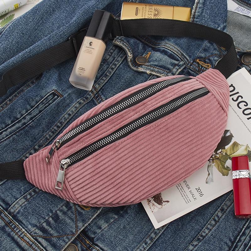 Fast Shipping Women Corduroy Waist Bag Ladies Designer Canvas Fanny Pack Fashion Money Phone Chest Bag Female Bum Belt Bag