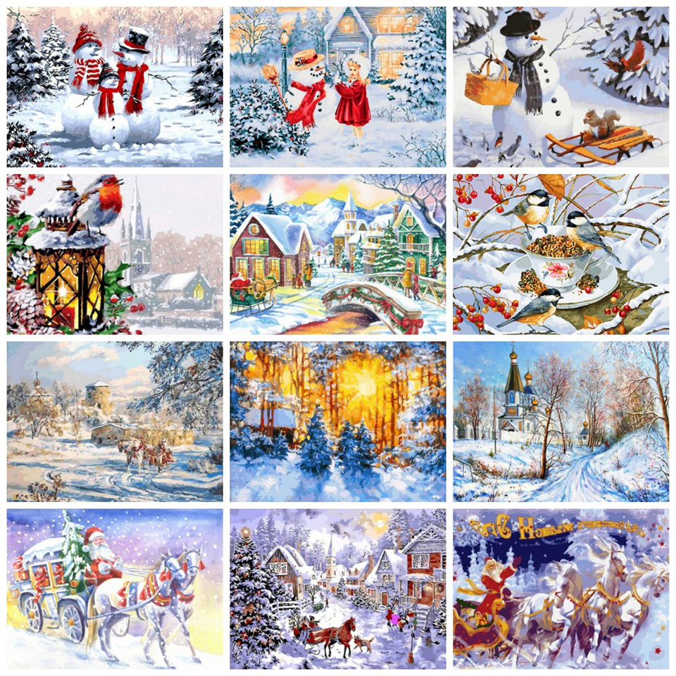 AZQSD DIY Paintings By Numbers Winter Canvas For Painting Home Decor Picture Coloring By Numbers Christmas 40x50 Cm