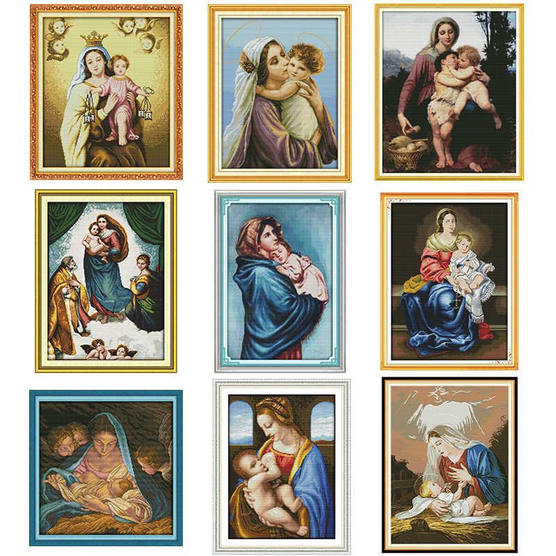 Набор для вышивки крестом «Мадонна и дети», 14 карат, 11 карат, набор для рукоделия, вышивка крестом, домашнее украшение