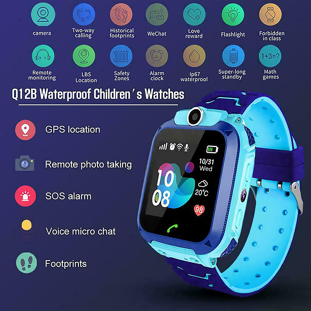 Q12 Children's Smart Watch Phone Call Chat Smartwatch SOS For Kids With Sim Card Photo Waterproof IP67 Kids Gift For IOS Android
