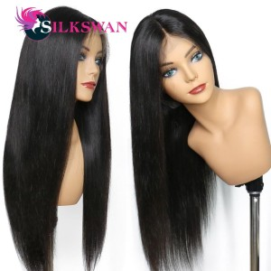 Silkswan Straight Human Hair Wig 100% Peruvian Remy Hair Full Lace Wigs Natural color Density 250% Can Be Restyled