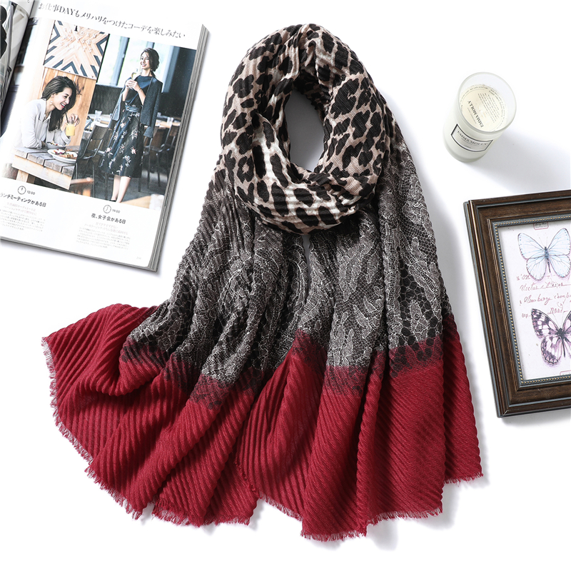 Design Brand Women Scarf 2020 Winter Crinkle Hijabs Headband Animal Print Fold Shawls And Wraps Cotton Neck Scarves Foulard