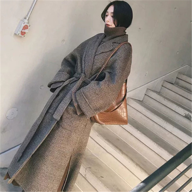 Vintage Long Double Faced Wool Coat Women Elegant Belted Warm Autumn Winter Coat Retro Plaid Wool Jacket Plus Size High Quality Wool Blends Aliexpress