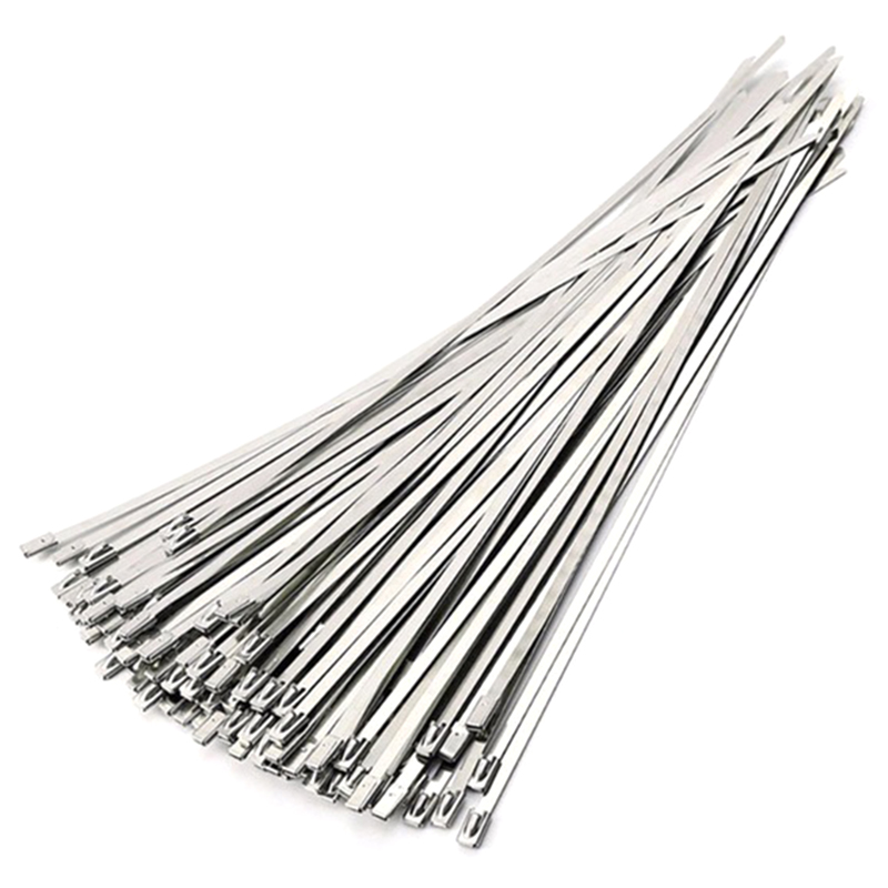 50Pcs 4.6X300Mm Stainless Steel Exhaust Pipe Wrap Coated Locking Cable Zip Ties Self-Locking Stainless Steel Cable Tie