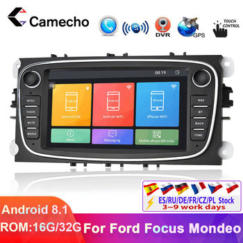 Camecho Android 8.1 Car Radios GPS 2 Din Car Multimedia Video Player Navigation 7'' For Ford/Focus/S-Max/Mondeo 9/Galaxy/C-Max image
