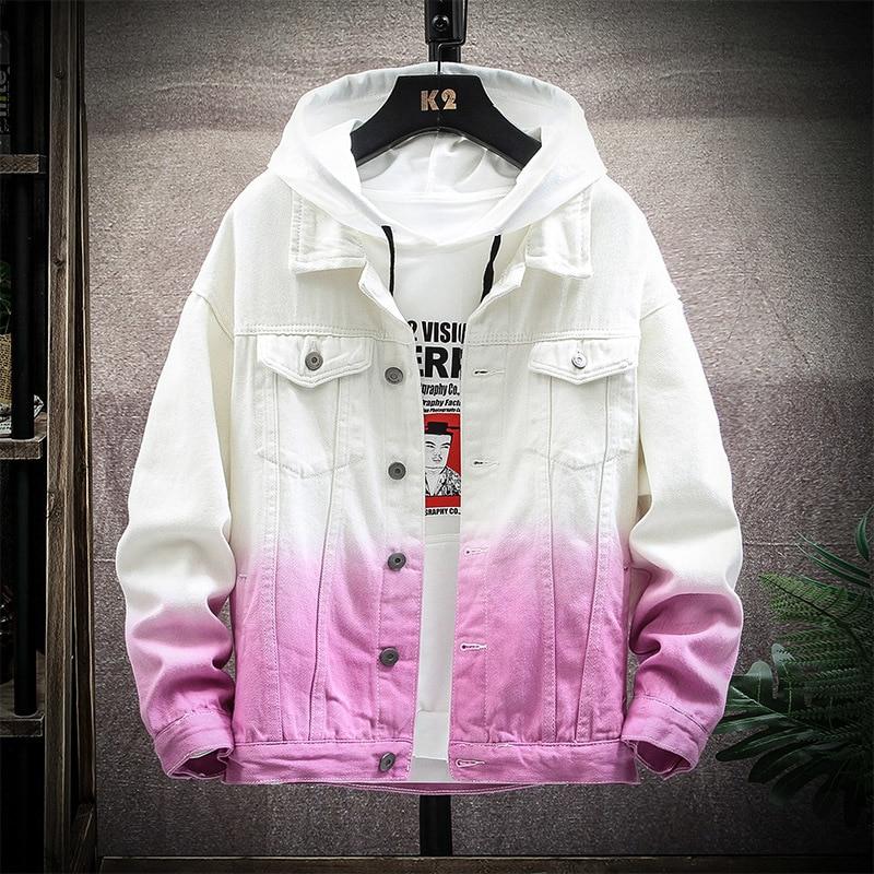 Осенняя джинсовая куртка Мужская модная градиентная Повседневная джинсовая куртка мужская уличная куртка в стиле хип-хоп куртка-бомбер