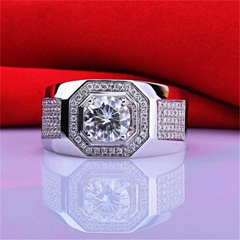 Men's 925 Sterling Silver Gemstone Rings Luxury 2ct Simulated Diamond Engagement Wedding Boys White Sapphire Jewelry Size 8-13
