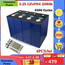 4 pièces 24 12V 3.2V 280Ah Lifepo4 Batterie Haute capacité Au Lithium Fer Phosphate BRICOLAGE Pour Batterie Solaire De Puissance De Batterie De Vélo Électrique