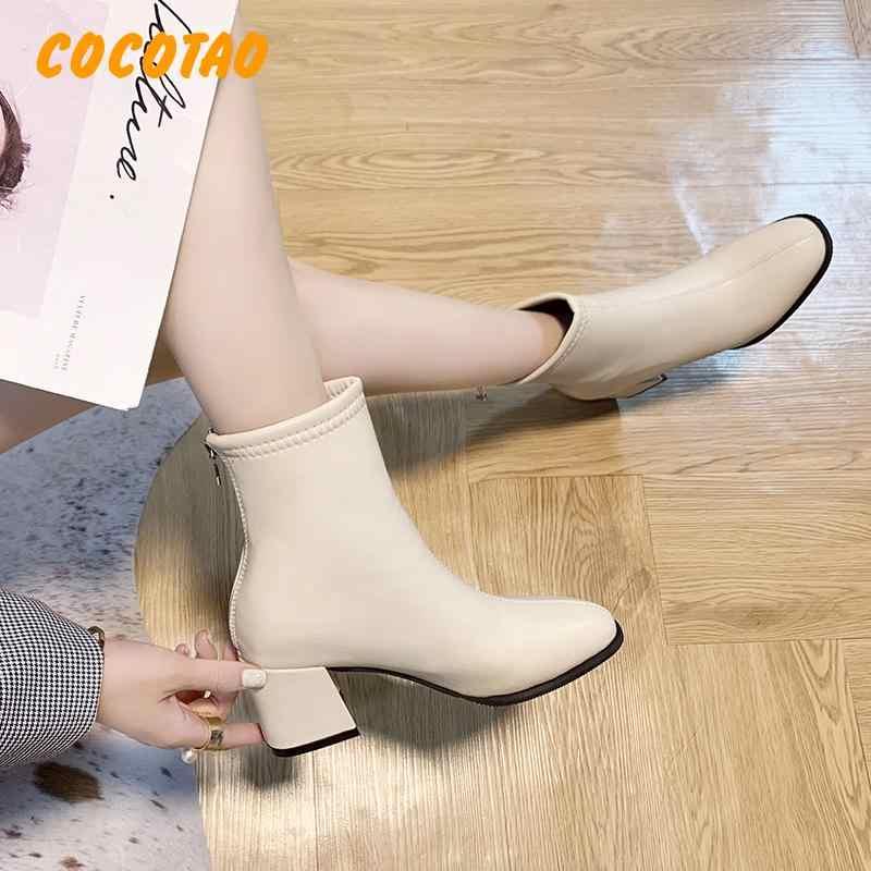 Yıldız ve rahat kadın yüksek topuklu öğrenci Qiu Dong Joker beyaz çizmeler İngiltere kalın ceket sıcak tutmak için 39