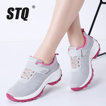 Stq 2020 outono mulher tênis de malha leve respirável ar chaussures femme rendas até tênis plataforma 1833
