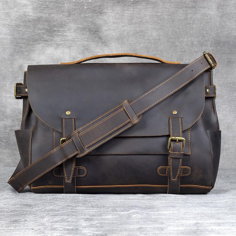 Crazy Horse Genuine Leather Travel Bag Men Business Bag Vintage Cowhide Casual Laptop Bags Hand Luggage Bag