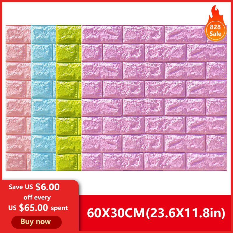 Hot Sale PE Foam 3D Wallpaper DIY Wall Stickers Wall Decor Embossed Brick Stone Wallpaper Room House 60 X 30 X 0.8cm Poster