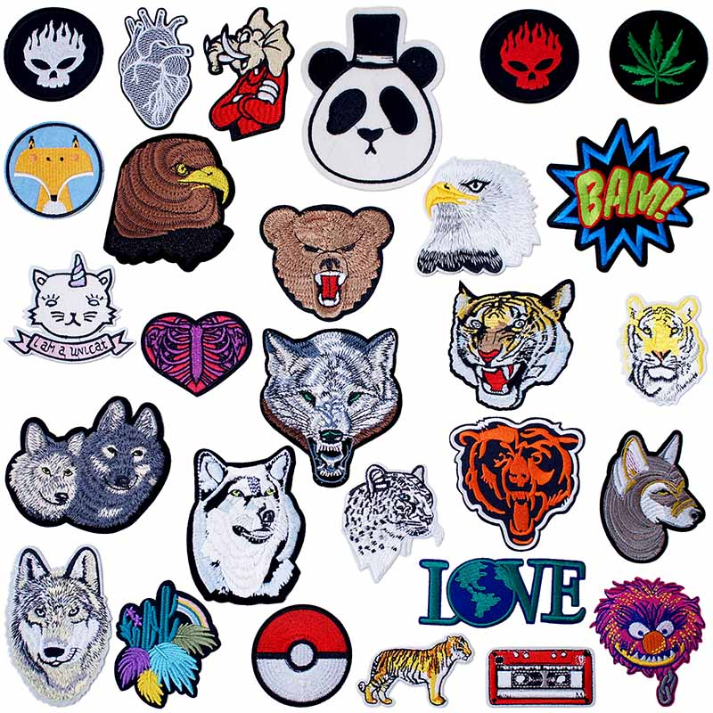 DIY Embroidered Tiger Wolf Sew Iron On Badge Patches Clothing Fabric Applique