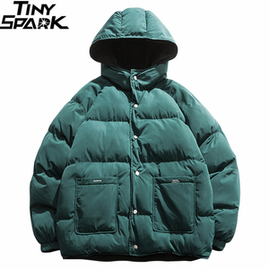 Image 1 - 2019 Streetwear Hip Hop Reversible Jacket Parka Men Padded Jacket Windbreaker Harajuku Puffer Coat Warm Hooded Outwear Loose New