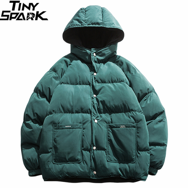 2019 Streetwear Hip Hop Reversible Jacket Parka Men Padded Jacket Windbreaker Harajuku Puffer Coat Warm Hooded Outwear Loose New