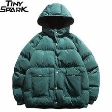 2019 Streetwear Hip Hop kurtka dwustronna Parka mężczyźni wyściełana kurtka wiatrówka Harajuku ocieplana kurtka ciepła odzież z kapturem luźne nowe