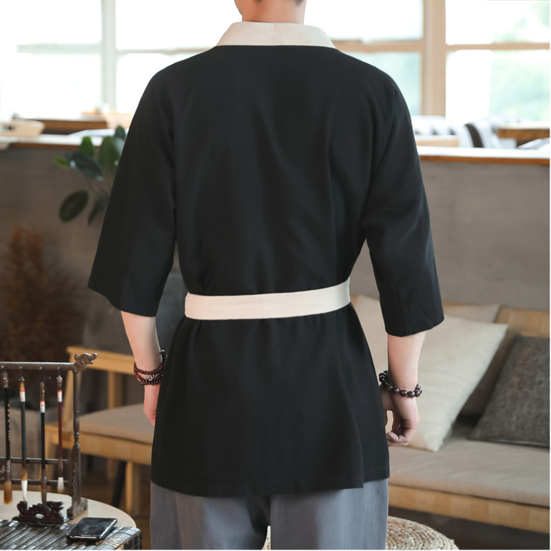 0565 Summer Vintage Cotton Linen Kimono Jacket Men With Belt Black Embroidery Casual V Neck Cardigan Streetwear Windbreaker in Jackets from Men 39 s Clothing