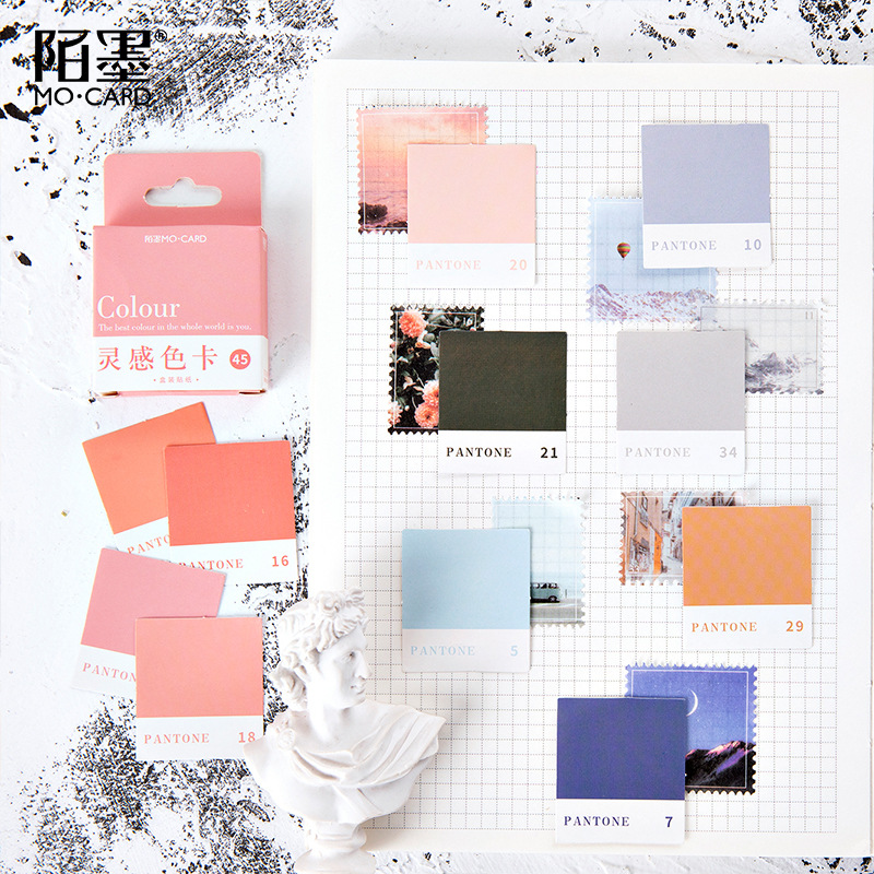 45pcs/pack Color Paper Sticker Diy Decoration Seal Sticker Scrapbooking Diary Label Sticker Stationery For Girl Gift Diy Diary