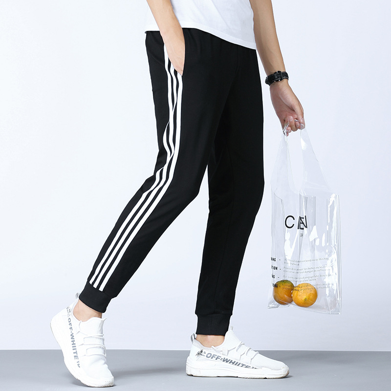 Casual Pants Men's 2019 Spring And Summer Korean-style Trend Beam Leg Athletic Pants Men's Pure Cotton Students Three Bars Skinn