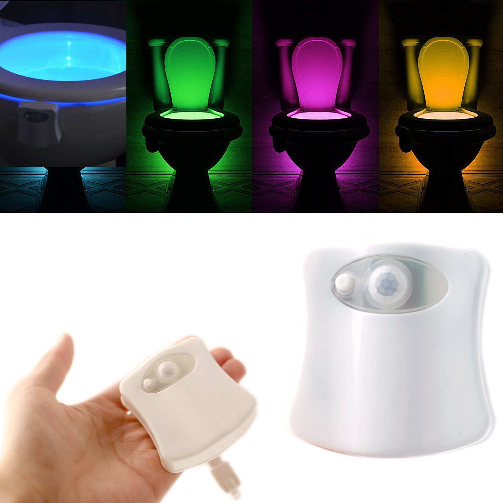 8 Colors PIR Motion Sensor Smart Toilet Seat Night Light Waterproof Backlight For Toilet Bowl LED Luminaria Lamp WC Toilet Light