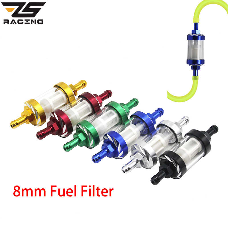 ZS Racing Colors 8mm 5/16'' Universal Aluminum Fuel Filter Petrol Diesel Inline For Motorcycle Scooters Fuel Filters Accessories