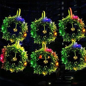 Â�ーラーチェーンストリングの妖精ライト花輪人工ミラノ葉 6 Ȋ�輪緑花輪屋内屋外の結婚式の装飾