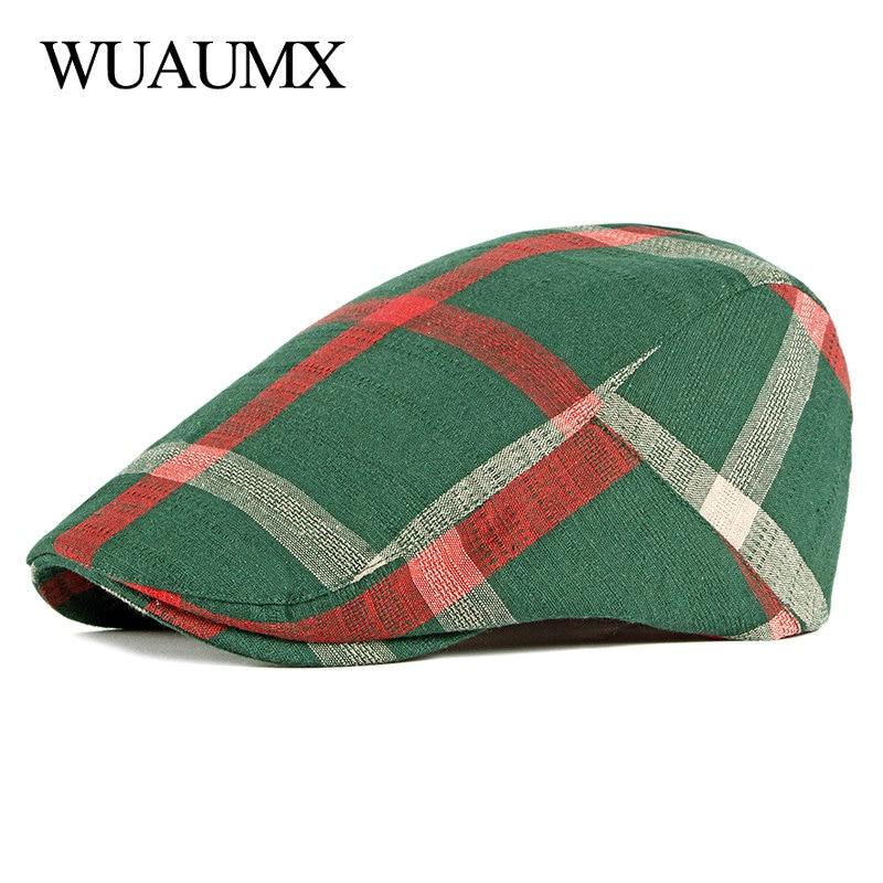 Unisex Thin Breathable Beret Hat Men Women Plaid Forward cap Spring Summer Berets Cap Green Black Flat Peaked Hats Visor