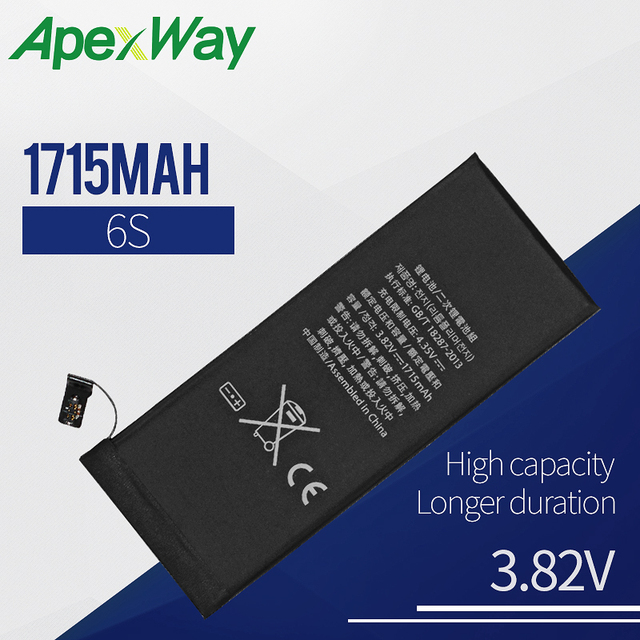 Apexway Mobile Phone Battery For iPhone 6S Replacement Batteries High Capacity Internal Bateria 1 PC