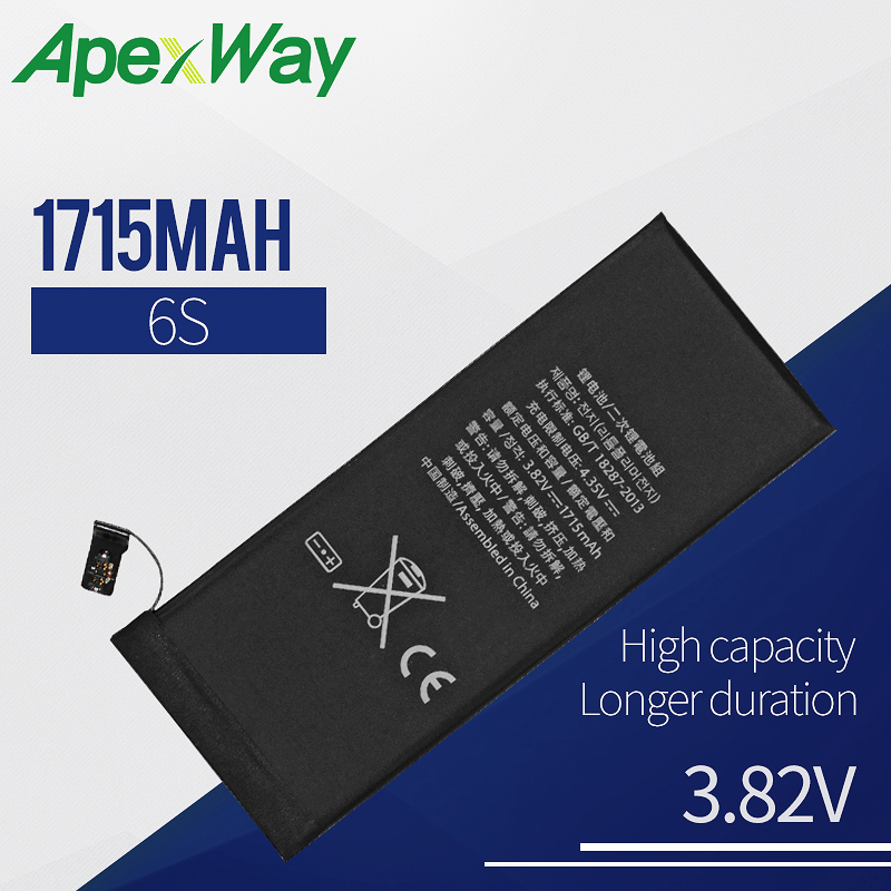 Apexway Mobile Phone <font><b>Battery</b></font> For <font><b>iPhone</b></font> <font><b>6S</b></font> Replacement <font><b>Batteries</b></font> <font><b>High</b></font> <font><b>Capacity</b></font> Internal Bateria 1 PC image