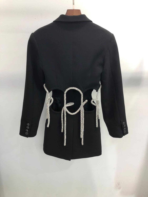 2020 Runway Fashion Retro Black Jackets Women Turn Down Collar Diamonds Single Button Hot Sale Jacket Vintage Top Fashion Slim