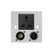 цена на Wall Power Socket 86*86mm Aluminum Alloy Panel Speaker Power Outlet AC Outlet XLR RCA Audio Socket