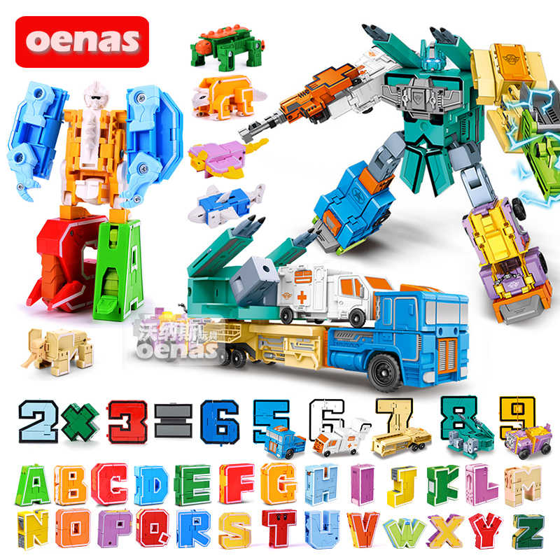 26 letters 10 Number Transform Creative Assembled Alphabet action deformation Robot Educational Building Block Children Toy gift