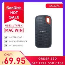 Thẻ Nhớ Sandisk SSD USB 3.1 Loại C 1TB 2 Tb 250GB Ngoài 500GB SSD Đĩa 500 Mét/giây ngoài Cho Laptop Camera NAS Máy Chủ