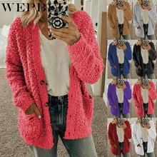 WEPBEL Women Full Sleeve Autumn Winter Plus Size Fleece Jackets Outwear Solid Co