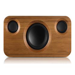 25W Bluetooth Speakers,Dual-Driver Wireless Bluetooth Home Bamboo Wood Stereo Speaker,Long  For Echo Dot,