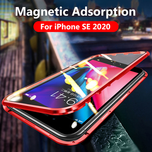 Image 2 - Case For iPhone SE 2020 Case Luxury Dual Tempered Glass Metal Magnetic Hard Cover For iPhone SE2 SE 2 Case Protective Bumper