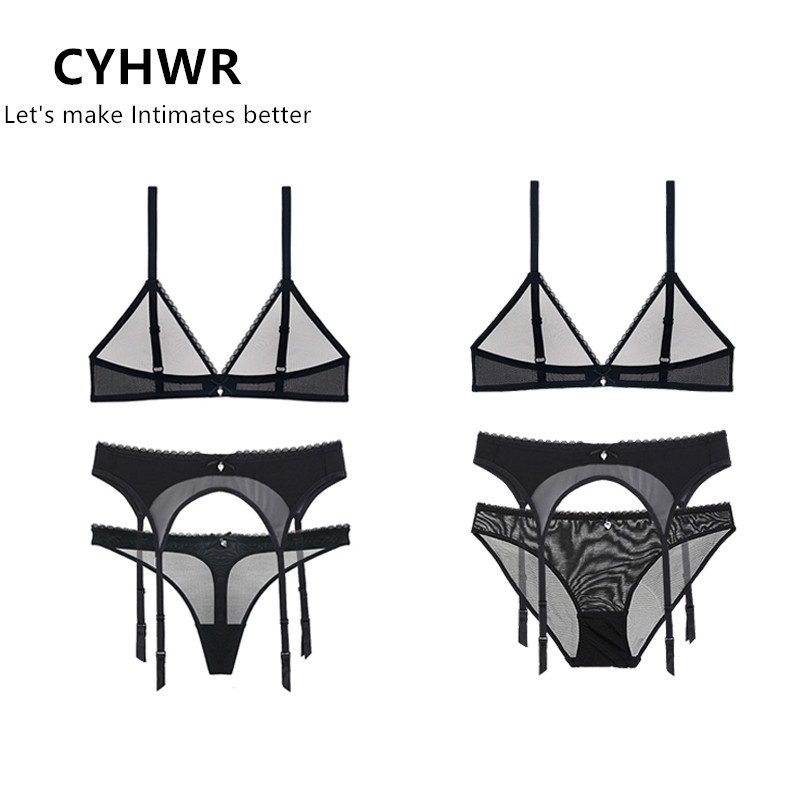 CYHWR See-Through Lace Transparent Sheer   Bras     set   and garter for Women