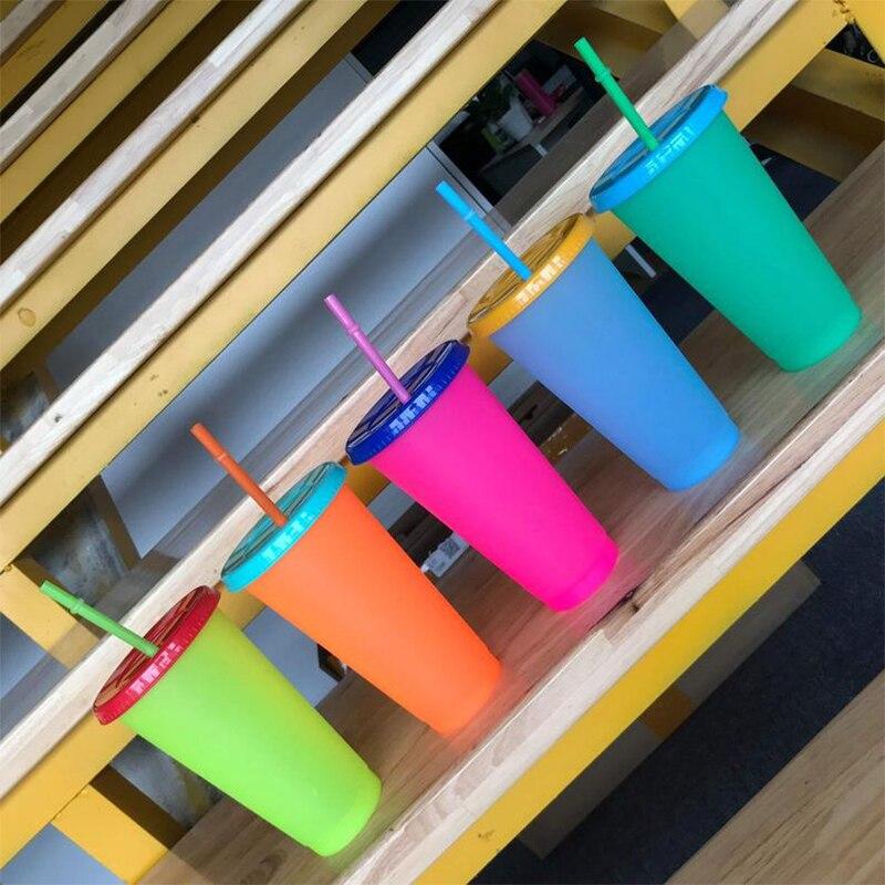 20 pçs/lote garrafa de água de plástico reutilizável temperatura em mudança de cor copo frio copo mágico tumbler personalizado presente do pai a granel