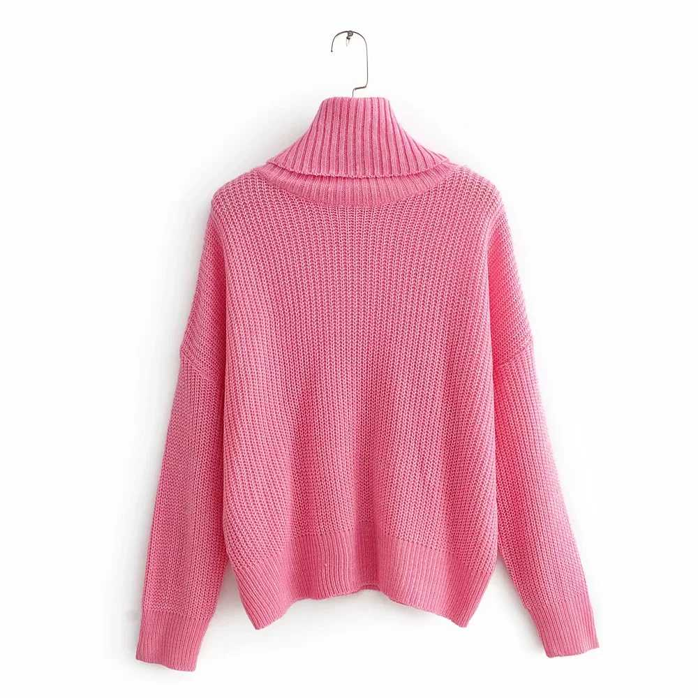 겨울 따뜻한 느슨한 니트 두꺼운 스웨터 여성 풀오버 za 한 사이즈 높은 칼라 와이드 슬리브 세련된 레이디 캐주얼 스웨터 핑크 femme