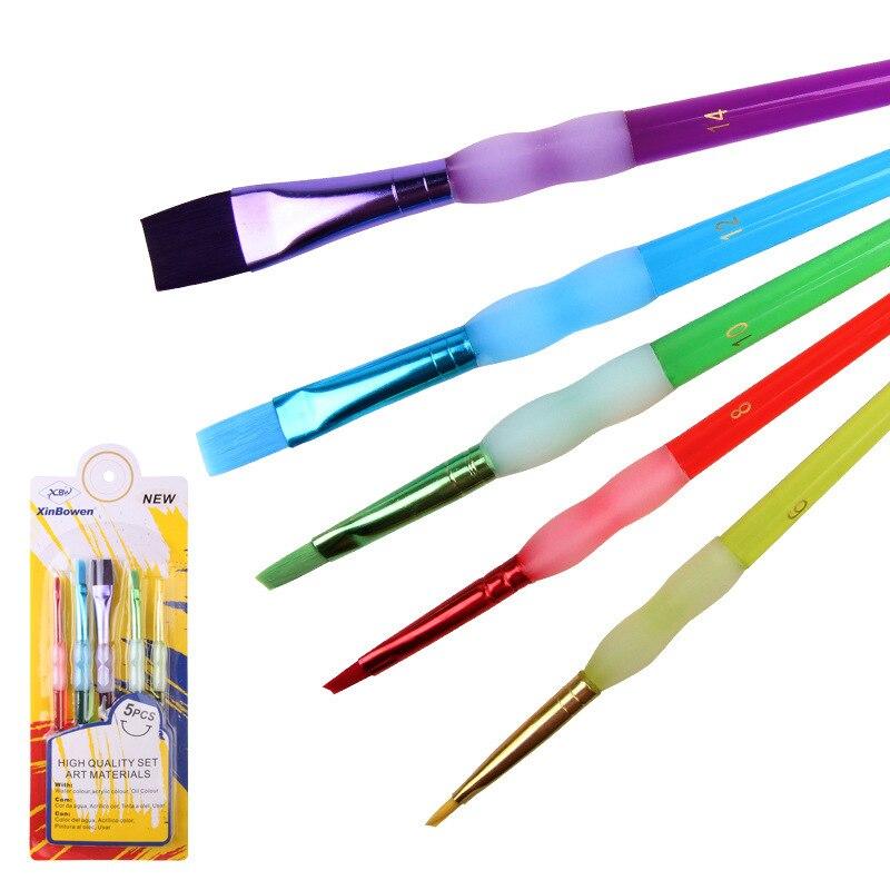 5pcs Colorful Nylon Hair Paint Brush Set Artist Watercolor Oil Brush For Children Student Stationary Painting Supplies
