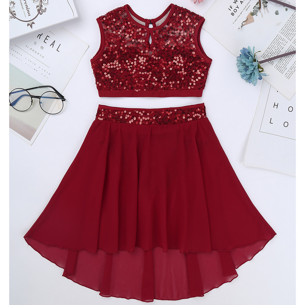 Image 5 - Girls Lyrical Dance Costumes Ballet Dress Sleeveless Sequined Crop Top with Dipped Hem Chiffon Skirt Set for Celebration DancingBallet   -