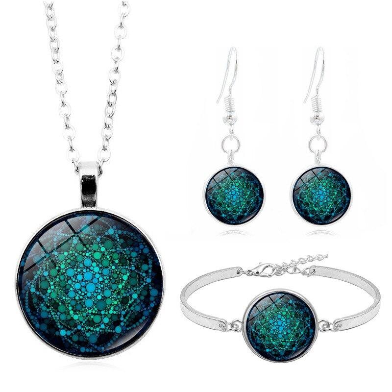 Fashion Jewelry Sets Women Blue Round Pendant Necklace Ethnic Vintage Necklace Set Causal Earring Bracelet 2020 Drop Shopping