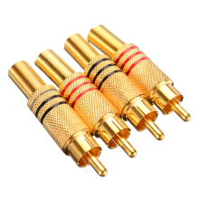 4Pcs/pack Gold Plated RCA Plug Audio Male Connector RCA Connecter Solder Audio Video Cable Adapter цена
