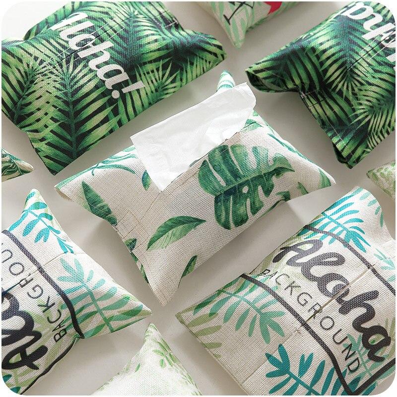 Tissue Paper Box Cotton and Linen Car Paper Towel Tissue Holder Removable Facial Tissue Holder Napkin Dispenser Box Cover Case