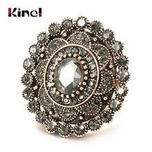 Kinel moda kobiety pierścień antyczne złoto unikalny szary kryształ kwiat duże pierścienie biżuteria ślubna w stylu Vintage Drop Shipping