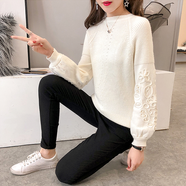 Ailegogo Womens Sweaters 2019 Autumn Winter Beaded Tops O Neck Women Soft Warm Pullover Jumper Knitted Sweater Knitwear 5