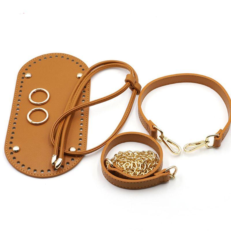5Pcs/Set DIY Crochet Handbag Accessories Faux Leather Shoulder Strap Bag Bottom
