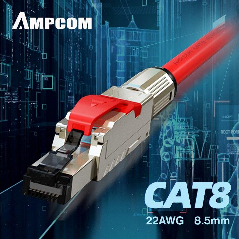 AMPCOM сетевой RJ45 Ethernet кабель компьютерный 10 Гбит/с Cat8 Cat7 Cat6A кабель предварительно завершенный патч-корд-Поддержка пользовательской длины