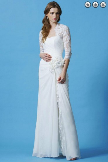 Free Shipping Dinner 2013 Vestidos Formales New Fashion White Long Brides Maid Mother Of The Bride Dresses With Lace Jacket